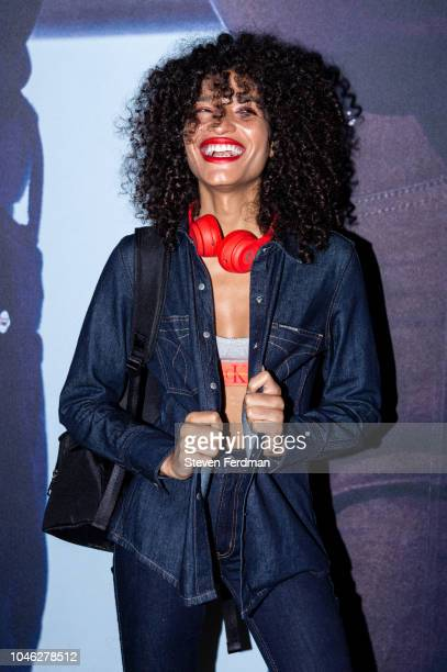 Indya Moore poses backstage during A$AP Rocky's surprise performance for Calvin Klein Jeans X Amazon Fashion Launch NYC Market at Flatiron Plaza on...