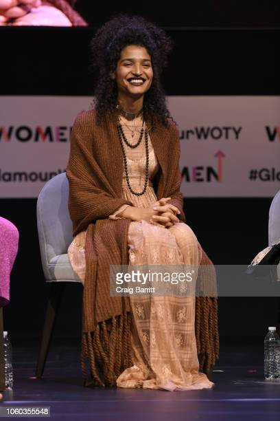 Indya Moore speaks onstage during The Benefits of Being an Outlier panel discussion at 2018 Glamour Women Of The Year Summit Women Rise at Spring...