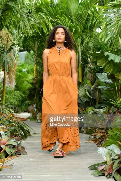 Indya Moore walks the runway for Jason Wu - September 2020 during New York Fashion Week: The Shows at Spring Studios Terrace on September 13, 2020 in...