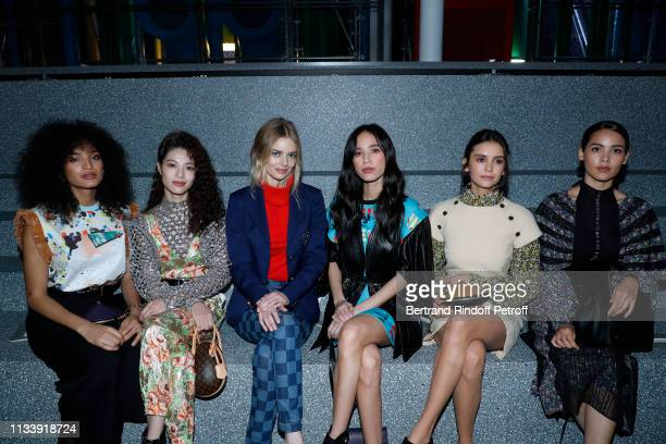 Indya Moore Zhong Chuxi Samara Weaving Kelsey Asbille Chow Nina Dobrev and Urassaya Sperbund attend the Louis Vuitton show as part of the Paris...