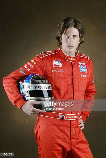 IndyCar driver Arie Luyendyk Jr during the annual Indycar Series preseason 'Test in the West' on February 3 2003 at the California Speedway in...
