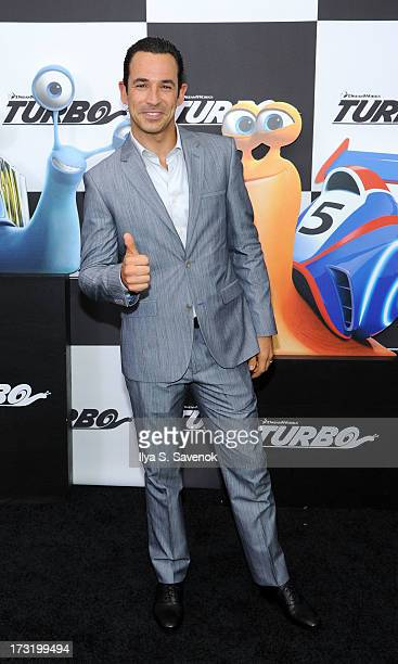 """IndyCar driver Helio Castroneves attends the """"Turbo"""" New York Premiere at AMC Loews Lincoln Square on July 9, 2013 in New York City."""