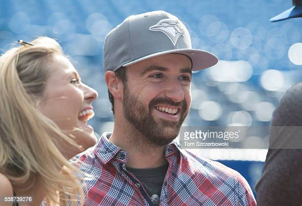 IndyCar driver James Hinchcliffe during batting practice prior to the start of the Toronto Blue Jays MLB game against the New York Yankees on June 1...