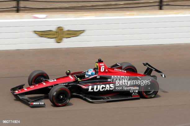 Indycar driver Robert Wickens of Schmidt Peterson Motorsports during the morning practice session on pole Day for the Indianapolis 500 on May 20 at...