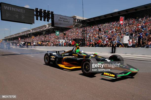 Indycar driver Sage Karam of Dreyer & Reinbold Racing during the Pit Stop Challenge on Carb Day for the Indianapolis 500 on May 25 at the...