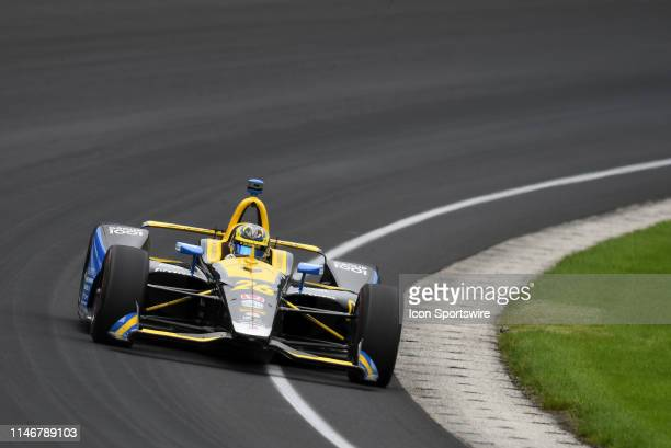 IndyCar driver Zach Veach of the Gainbridge Andretti Autosport Honda drives through turn one during the NTT IndyCar Series 103rd running of the...