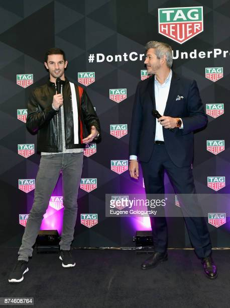 IndyCar Series driver and TAG Heuer Corporate Ambassador Alexander Rossi and Vice President of Marketing at TAG Heuer Andrea Soriani speak onstage...
