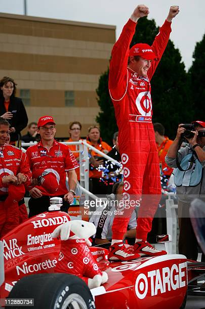 IndyCar Series driver Scott Dixon celebrated his win in the Road Runner Turbo Indy 300 at Kansas Speedway in Kansas City Kansas on Sunday April 26...