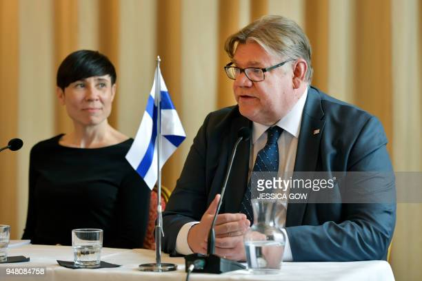 Ine Eriksen Soreide Foreign Minister of Norway and Timo Soini Foreign Minister of Finland hold a joint press conference which concludes the Nordic...