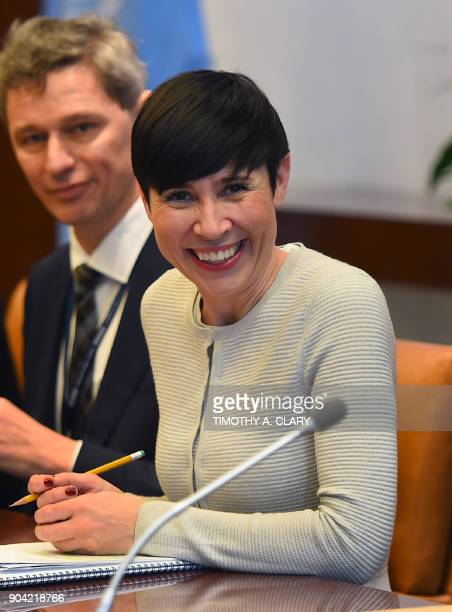 Ine Eriksen Soreide Minister for Foreign Affairs of Norway smiles at the United Nations during her meeting with the United Nations SecretaryGeneral...