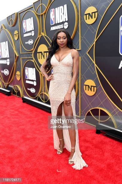 Inem Akpan poses for a photo on the red carpet before the 2019 NBA Awards Show on June 24 2019 at Barker Hangar in Santa Monica California NOTE TO...