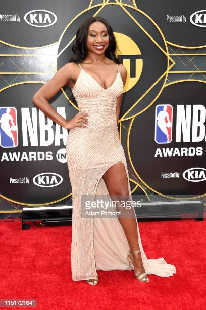 Inem Akpan poses for a photograph on the red carpet before the 2019 NBA Awards Show on June 24 2019 at Barker Hangar in Santa Monica California NOTE...