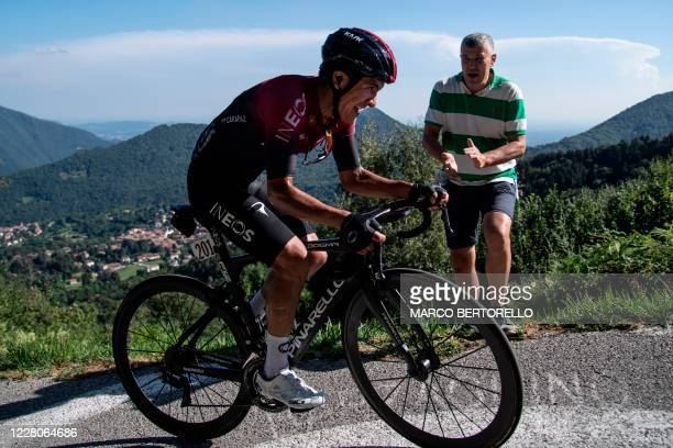 Ineos Ecuador rider Richard Carapaz climbs during the 114th edition of the giro di Lombardia , a 231 km cycling race from Bergamo to Como on August...