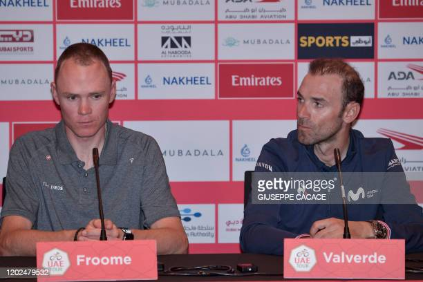 Ineos team rider Chris Froome of England and Movistar team rider Alejandro Valverde of Spain attend a press conference in Dubai on the eve of the UAE...