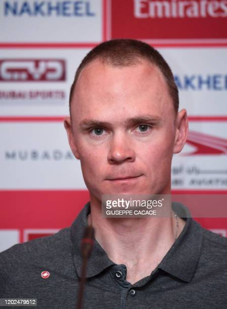 Ineos team rider Chris Froome of England attends a press conference on the eve of the UAE cycling tour in Dubai in the United Arab Emirates on...