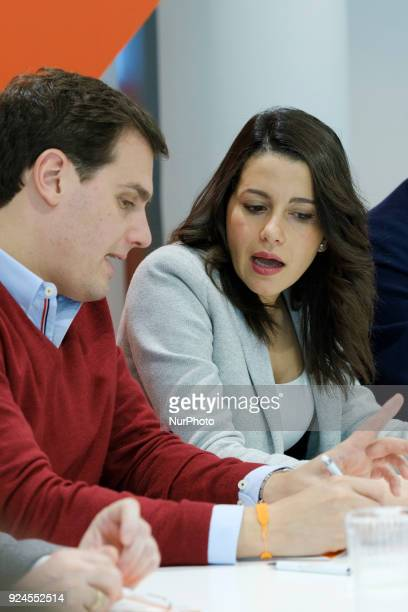 Ines Arrimadas and Albert Rivera president of the political party of Ciudadanos during the Meeting of the National Executive Committee in Madrid...