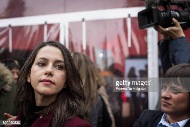 Ines Arrimadas candidate for Ciudadanos party after a meeting on University square about women's right in Barcelona Ciudadanos set up a tent on...