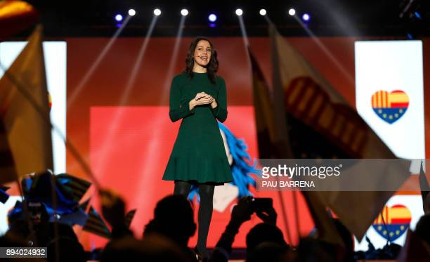 Ines Arrimadas, center-right party Ciudadanos candidate for the upcoming Catalan regional election attends a campaign meeting in L'Hospitalet del...