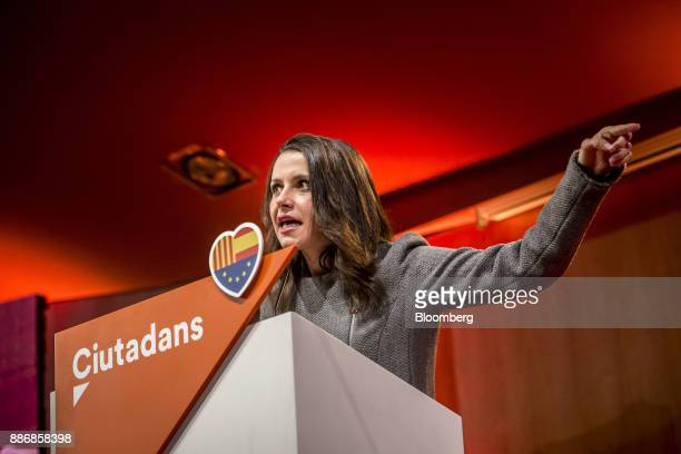 Ines Arrimadas head of Ciudadadanos in the Catalan Parliament gestures as she speaks during an event to launch the party's campaign for the Catalan...
