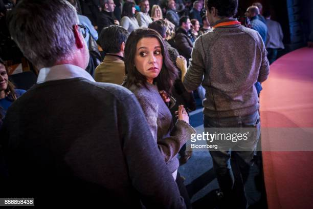 Ines Arrimadas head of Ciudadadanos in the Catalan Parliament attends an event to launch the party's campaign for the Catalan election at the...