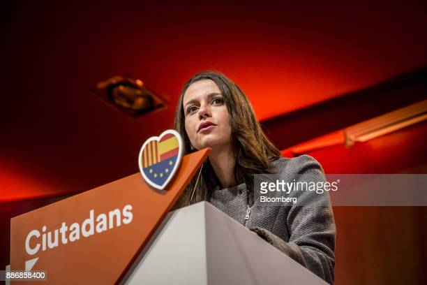 Ines Arrimadas head of Ciudadadanos in the Catalan Parliament speaks during an event to launch the party's campaign for the Catalan election at the...