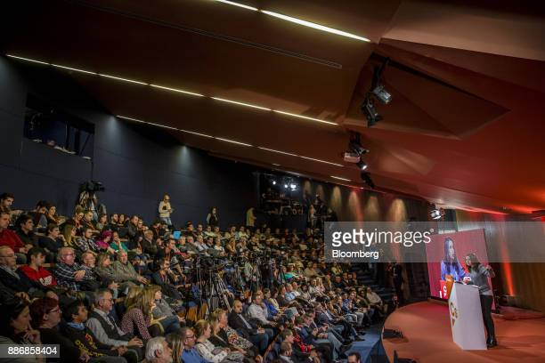 Ines Arrimadas head of Ciudadadanos in the Catalan Parliament speaks to supporters during an event to launch the party's campaign for the Catalan...