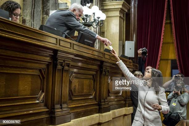 Ines Arrimadas leader of Ciudadanos casts her vote for the new parliament president in the Catalan parliament in Barcelona Spain on Wednesday Jan 17...