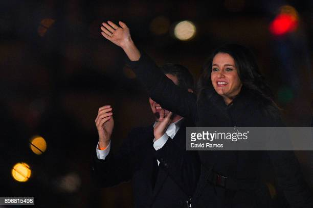 Ines Arrimadas leader of Ciudadanos Catalan party celebrates the results on December 21 2017 in Barcelona Spain Unionist Citizens party win biggest...