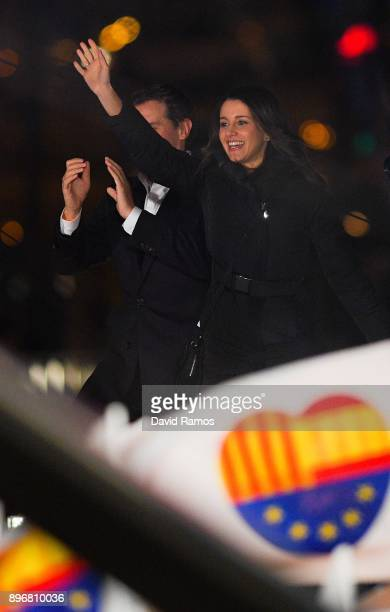 Ines Arrimadas leader of Ciudadanos Catalan party waves to her supporters on December 21 2017 in Barcelona Spain Catalan voters are heading to the...