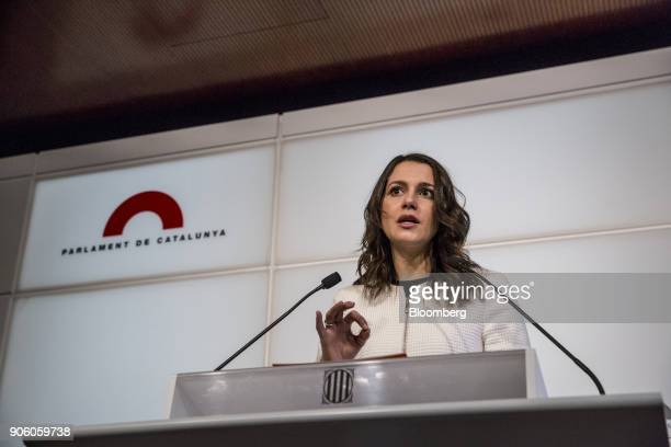 Ines Arrimadas leader of Ciudadanos speaksin the Catalan parliament in Barcelona Spain on Wednesday Jan 17 2018 Spanish Prime Minister Mariano...