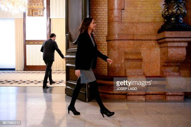 Ines Arrimadas regional head of the antiindependence Cuidadanos party leaves after a meeting with newly elected Catalan parliament speaker Roger...