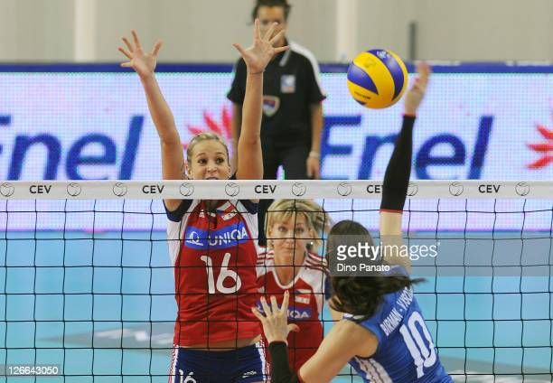 Ines Birman Vysotski of Israel spikes the ball against Helena Havelkpova of Czech Republic during the Women's Volleyball European Championship match...