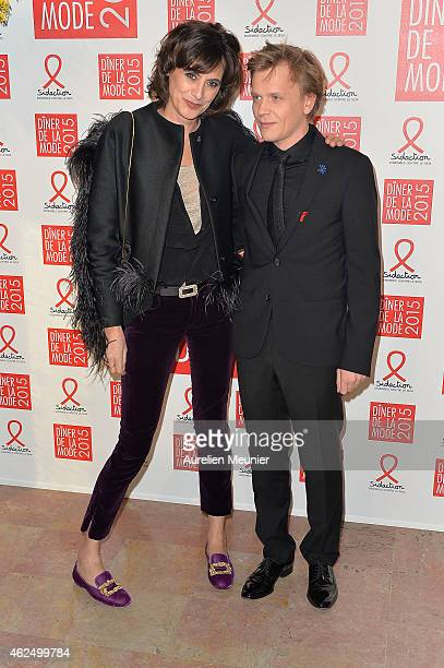 Ines de La Fressange and Alex Lutz attend the Sidaction Gala Dinner 2015 at Pavillon d'Armenonville on January 29 2015 in Paris France