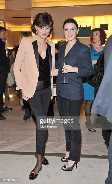 Ines de la Fressange and Allegra Donn attend the cocktail party for the launch of the 'Miss Viv' handbag collection by Roger Vivier on March 16 2010...