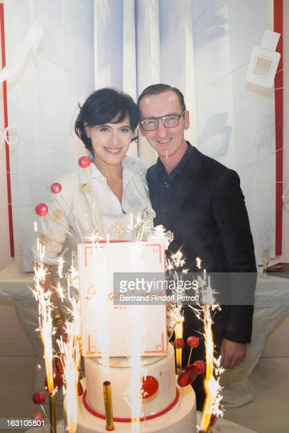 Ines de la Fressange and Bruno Frisoni attend the Roger Vivier Cocktail to celebrate the launch of the book 'Roger Vivier' as part of Paris Fashion...