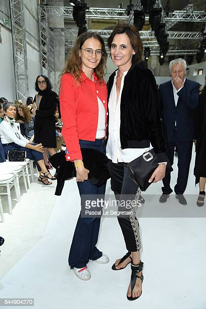 Ines de la Fressange and daughter Violette attend the Giambattista Valli Haute Couture Fall/Winter 20162017 show as part of Paris Fashion Week on...