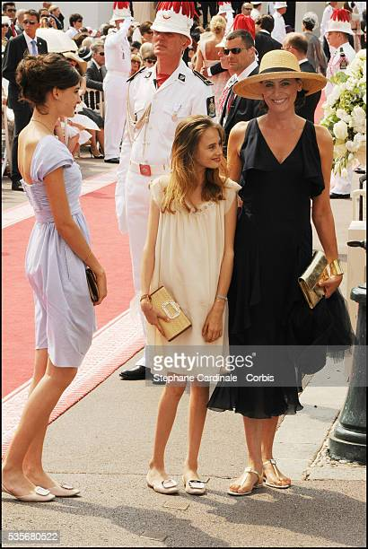 Ines de la Fressange and daughters attend the religious ceremony of the Royal Wedding of Prince Albert II of Monaco to Charlene Wittstock at the...