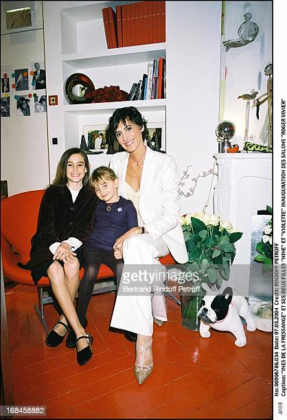 Ines De La Fressange and daughters Nine and Violette at Inauguration Of Roger Vivier Salon