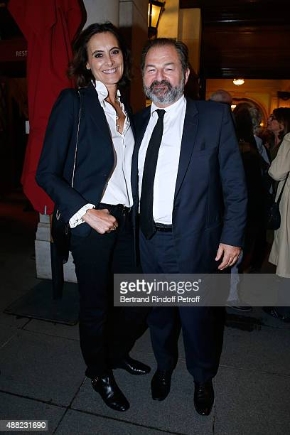 Ines de la Fressange and Denis Olivennes attend 'Le Mensonge' Theater Play Held at Theatre Edouard VII on September 14 2015 in Paris France