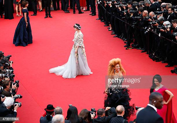 Ines de la Fressange and Fan Bingbing attend Premiere of Mad Max Fury Road during the 68th annual Cannes Film Festival on May 14 2015 in Cannes France