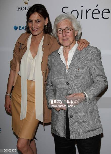 Ines de la Fressange and Francine Leca attend ''the Jo Wilfried Tsonga 'Ace de Coeur' Charity Cocktail'' at Hotel Park Hyatt on May 20 2010 in Paris...