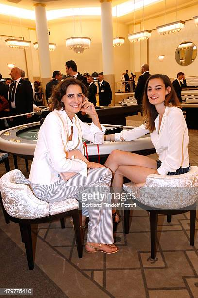 Ines de la Fressange and her daughter Nine d'Urso attend the Chanel show as part of Paris Fashion Week Haute Couture Fall/Winter 2015/2016 Held at...