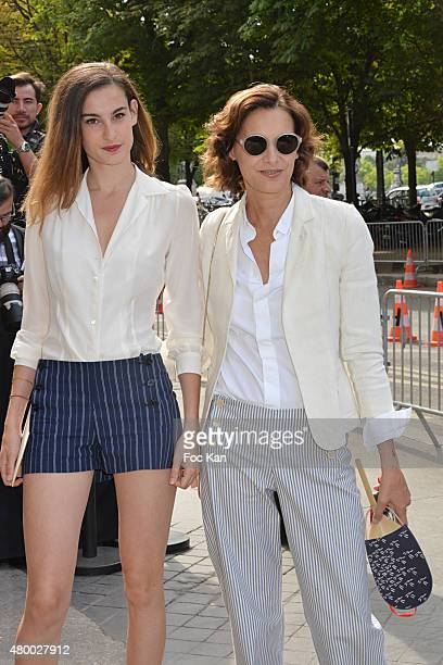 Ines De La fressange and her daughter Nine dÕUrso Attend the Chanel show as part of Paris Fashion Week Haute Couture Fall/Winter 2015/2016 on July 7...