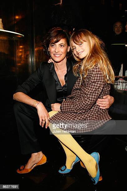 Ines de la Fressange and her daughter Violette attend the Roberto Cavalli opening boutique party during Paris Fashion Week readytowear Autumn /...
