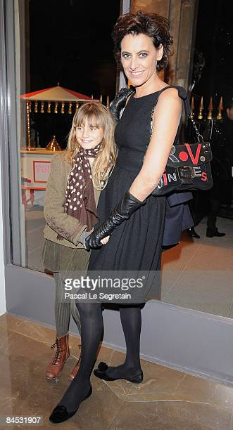 Ines De La Fressange and her daughter Violette attend the Stella McCartney Paris store opening on January 28 2009 in Paris France