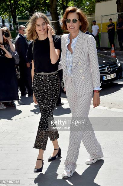 Ines de La Fressange and her daughter Violette D'Urso are seen arriving at the 'Chanel' show during Paris Fashion Week Haute Couture Fall/Winter...