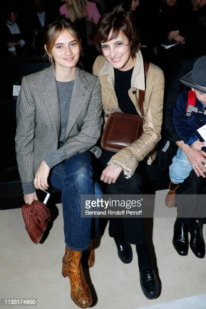 Ines de la Fressange and her daughter Violette d'Urso attend the Haider Ackermann show as part of the Paris Fashion Week Womenswear Fall/Winter...