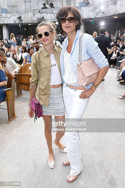 Ines de La Fressange and her daughter Violette d'Urso attend the Chanel show as part of Paris Fashion Week HauteCouture Fall/Winter 20132014 at Grand...