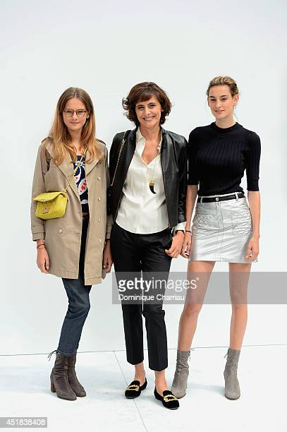 Ines De La Fressange and her daughters Violette d'Urso and Nine d'Urso attend at Chanel show as part of Paris Fashion Week Haute Couture Fall/Winter...