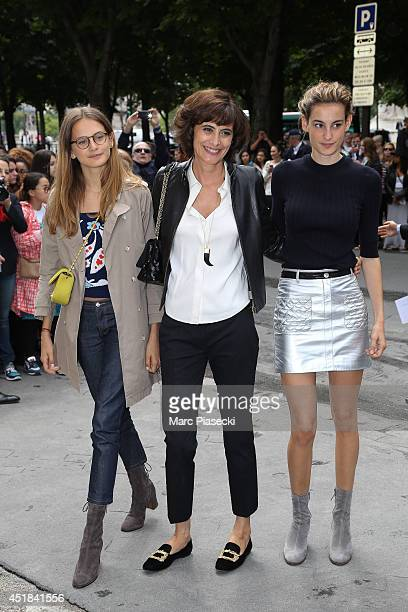 Ines de la Fressange and her daughters Violette d'Urso and Nine d'Urso arrive to attend the Chanel show as part of Paris Fashion Week Haute Couture...